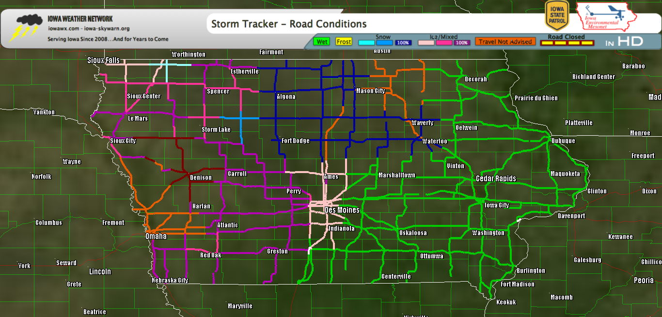 Roads Closed in West Central Iowa; Travel Advisory elsewhere
